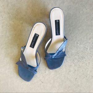 Etienne Aigner blue & wood leather sandal mule 8.5